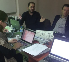Discussion during the project meeting