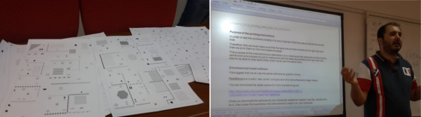 Figure on the left handside: Several sheets of microcapsule paper with examples of tactile graphics (indoor maps); Figure on the right handside: Mr. Charikakis presents the planned testing procedure using a powerpoint slide.